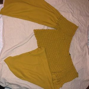 Mustard yellow crop top with long flare sleeves